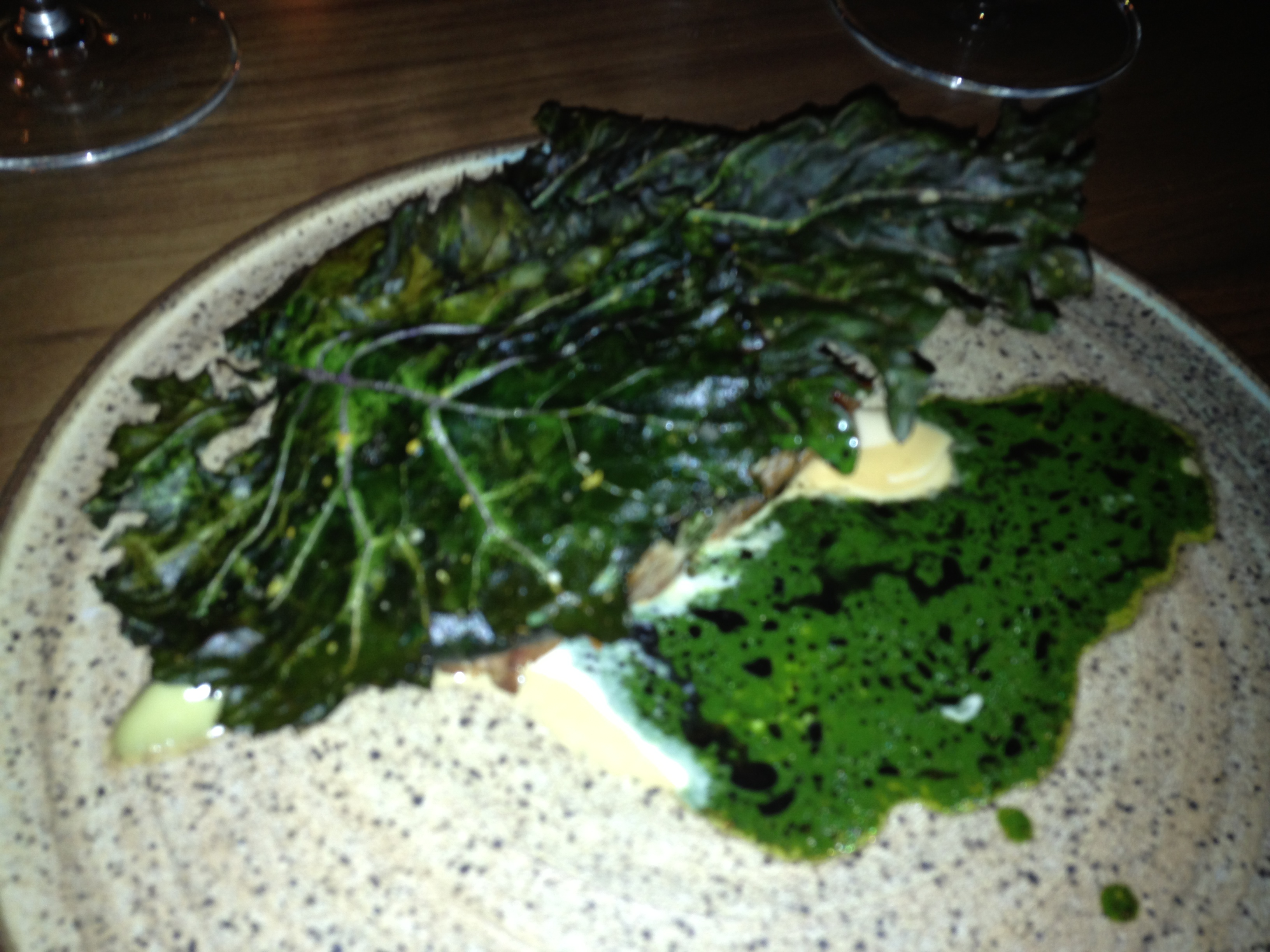 Pork with tahini, kale, daikon by Johnny Spero