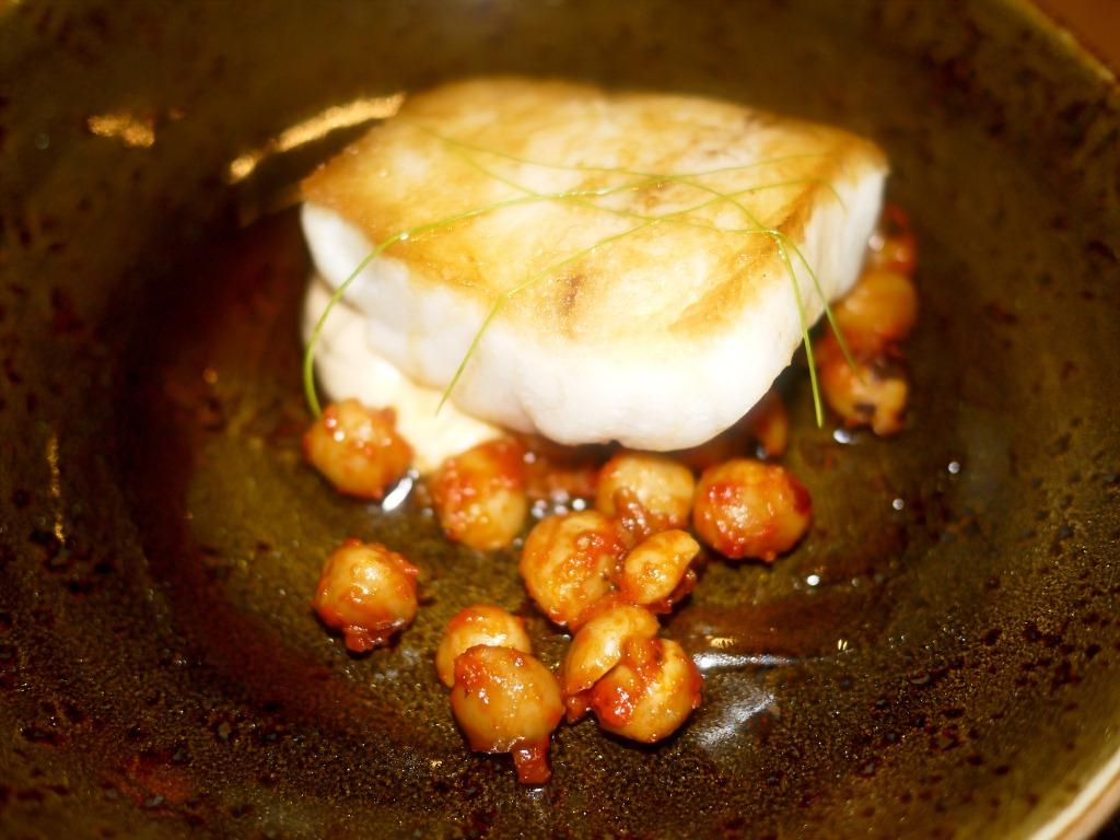 Range Striped Bass, BBQ Hazelnuts