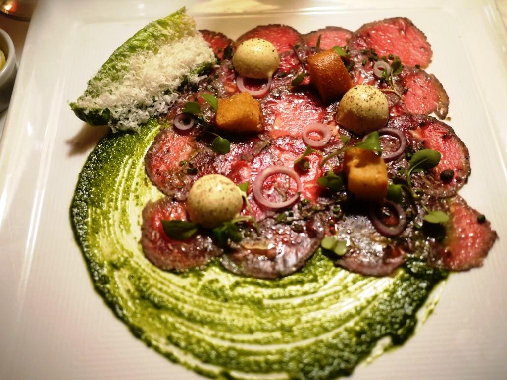 THE INN AT LITTLE WASHINGTON Carpaccio of Herb Crusted Baby Lamb Loin with Caesar Salad Ice Cream