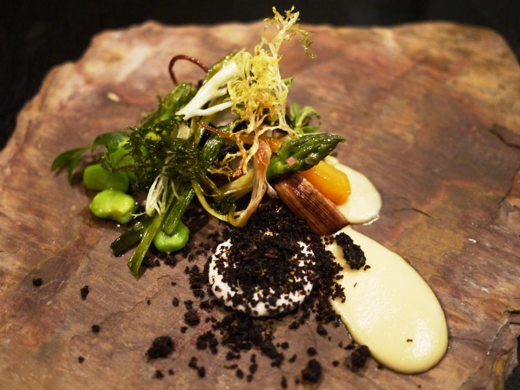 Alinea asparagus with spring bounty (or veal cheeks)