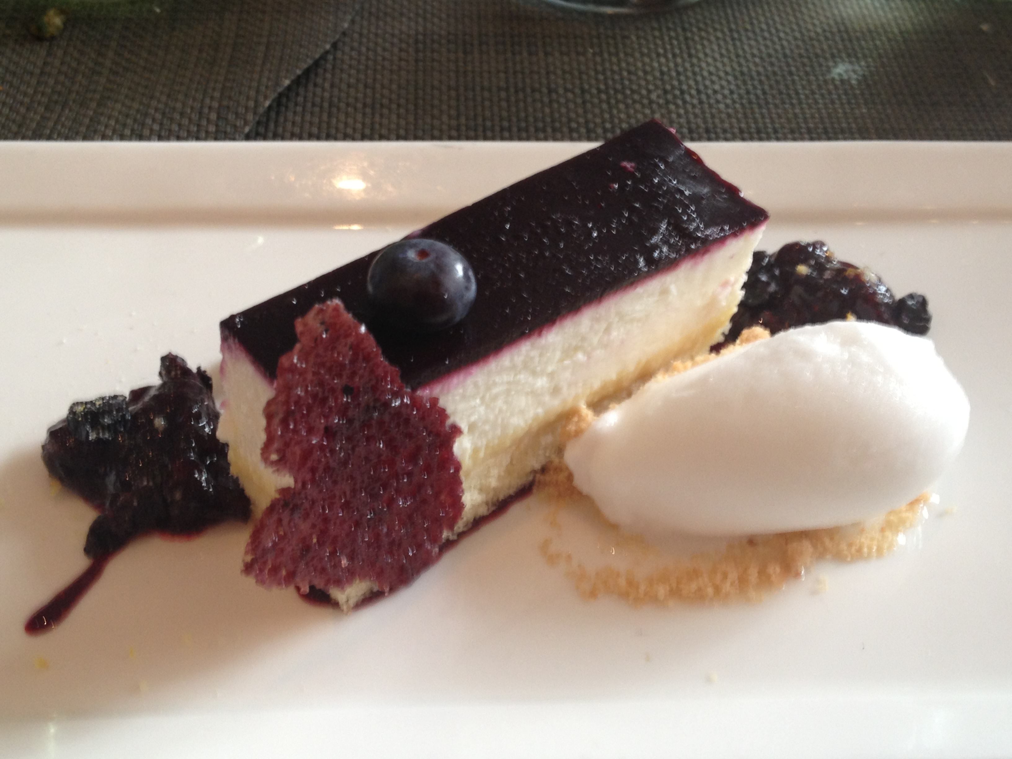 Boulud Sud lemon blueberry gateau