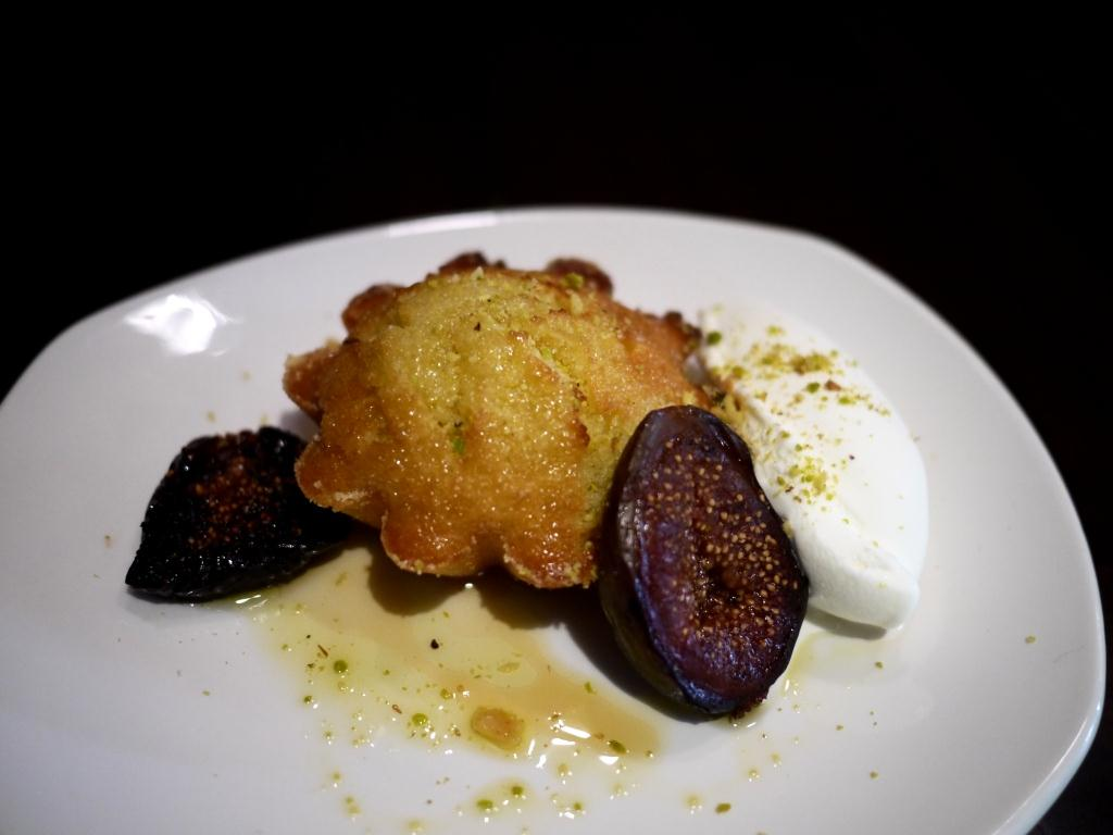 Kapnos Semolina Cake with olive oil ice cream