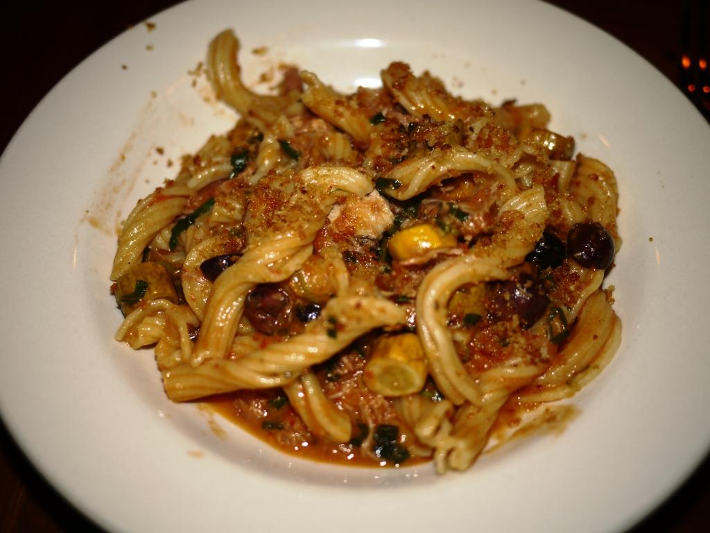 The Red Hen Garganelli with Braised Duck, Zucchini, Tomato & Black Olives