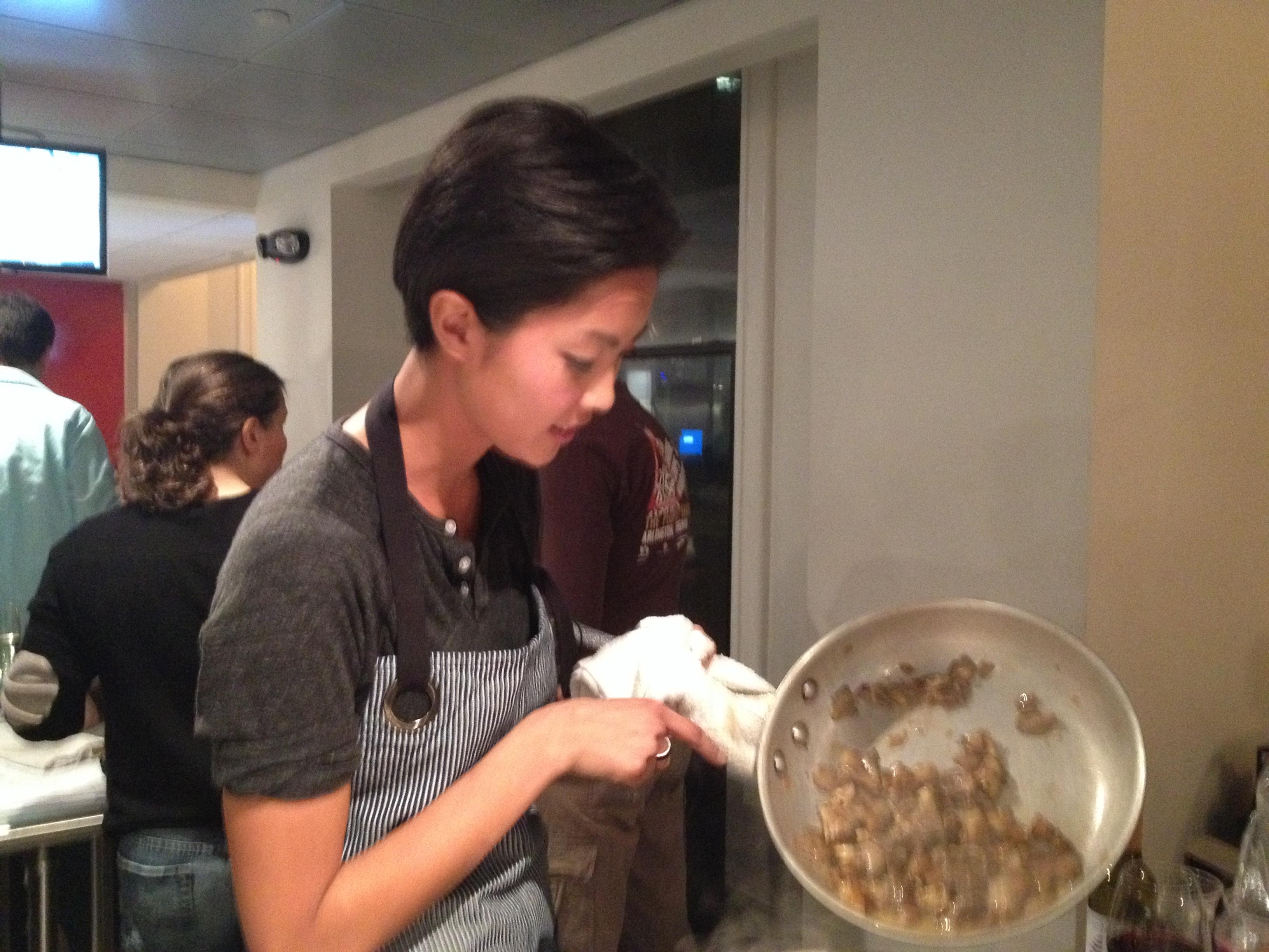 Kristen Kish with pasta
