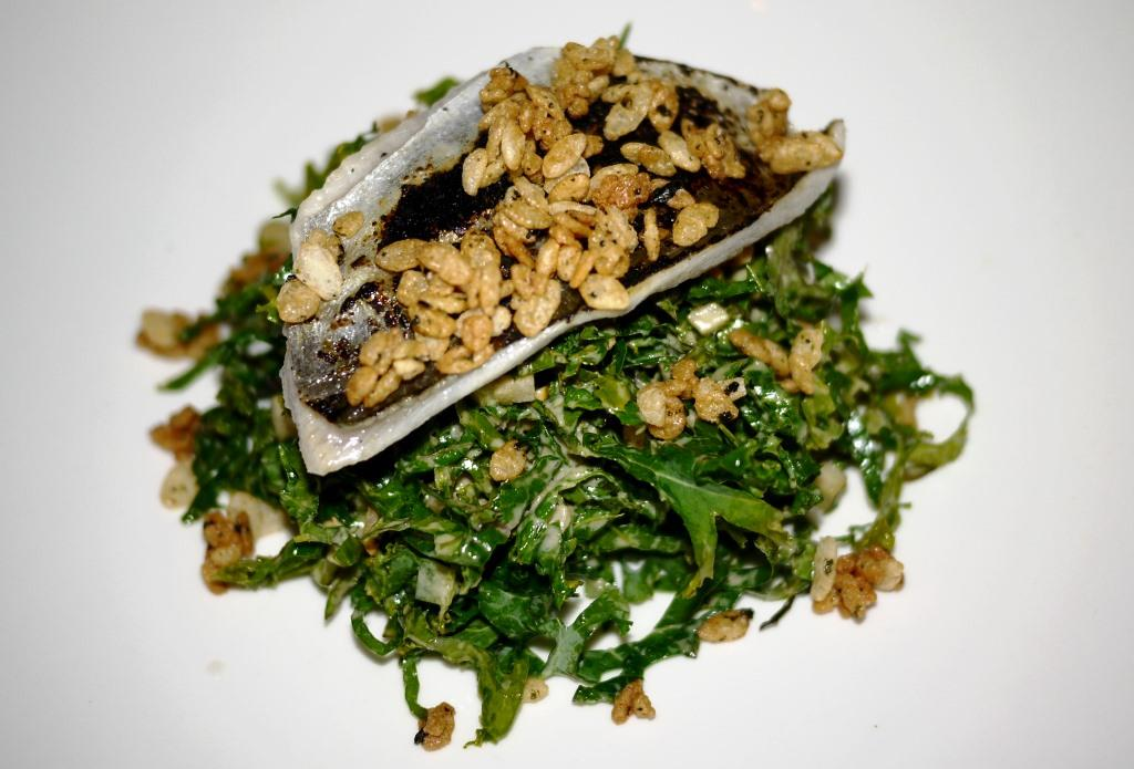 Pardes kale with smoked butterfish