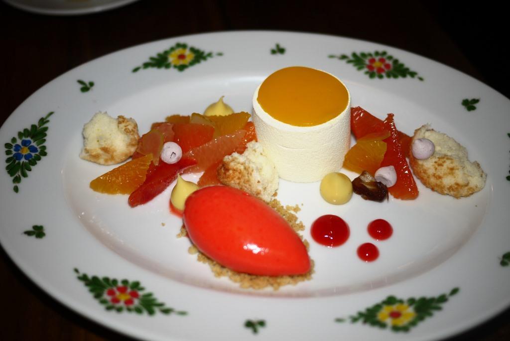 Osteria Morini Ricotta Pana Cotta with Grapefruit Campari Gelato
