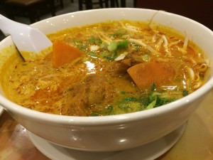 curry chicken with vermicelli noodles soup