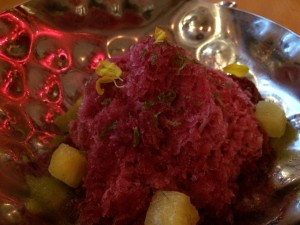 China Chilcano shaved purple corn ice