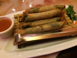 Peter Chang cilantro flounder fish roll