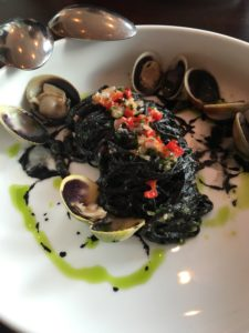 Duck Duck Goose squid ink spaghetti