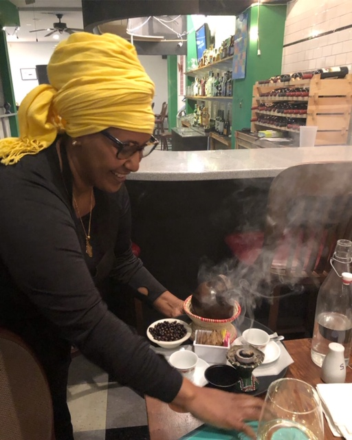 Delina coffee ceremony with Chef Abeba Bisetegn