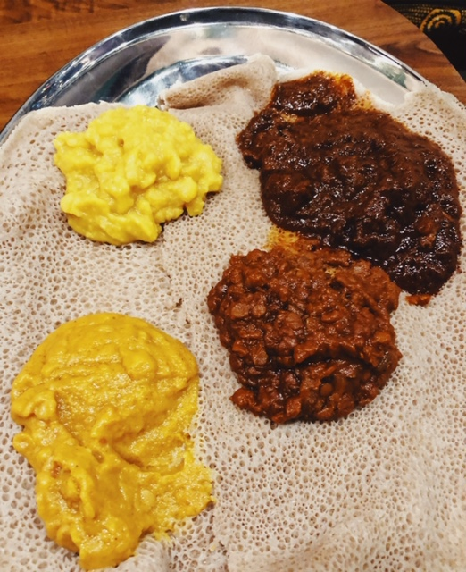 Delina vegetables on injera