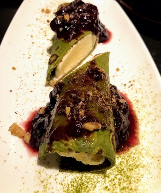 KAZ Sushi Bistro green tea crepes with ginger ice cream