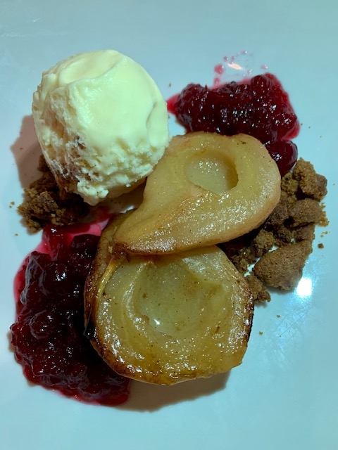 Mintwood Place Warm roasted pears with cranberry compote