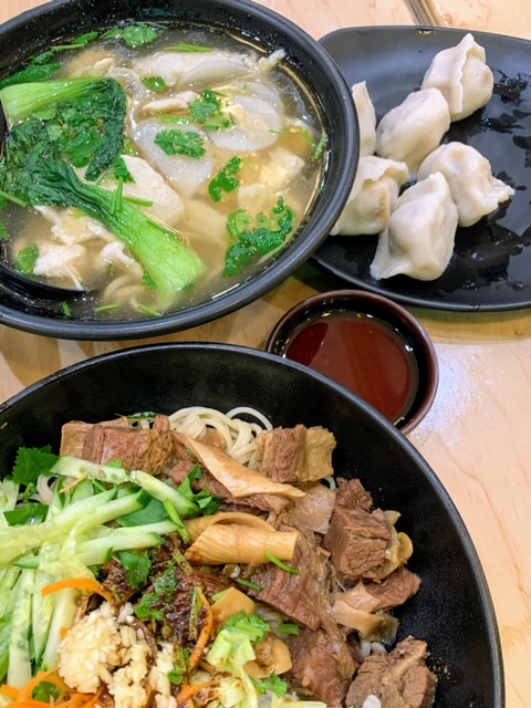Lanzhou Hand Pull Noodles beef noodles stir fried, chicken noodle soup, chive pork dumplings